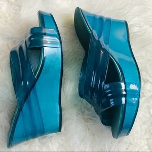 Nature Breeze Clear Turquoise Open Toe Wedge